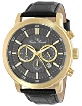 Lucien Piccard Men's 12011-YG-014 Monte Viso Chronograph Grey Textured Dial Black Leather Band Watch