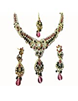Sneh Marquise Drop Coloured Stone Necklace Set For Women