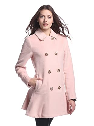 Betsey Johnson Women's Double Breasted Faux Mohair Coat (Rose)