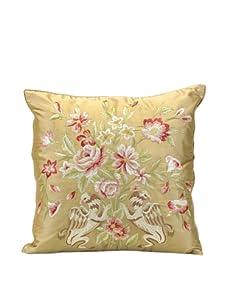 """John-Richard Collection Bird and Floral Silk Pillow, 20"""" x 20"""""""