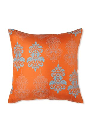 Andres Silk and Suede Throw Pillow 18x18 - Orange
