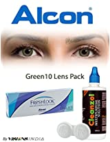 Alcon Freshlook One-Day Green Color Contact Lenses By Visions India 10 Lens Pack-0.00