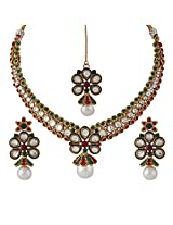 Variation Pearl Drop Multicoloured Polki Necklace Set for Women - VD14242
