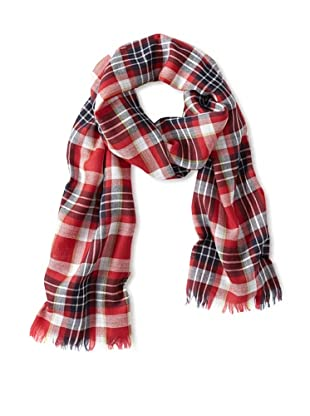 Psycho Bunny Men's Merino Plaid Scarf (Red/Navy)