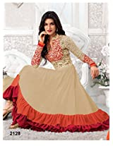 Rozdeal Women Georgette Embroidered Unstitched Long Sleeve Cream and orange Anarkali Suit