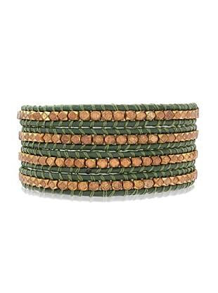 Lucie & Jade Echtleder-Armband Metallbeads grün/gold