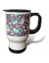 3dRose Kitty Fun in Blues Pinks and Purple Background Travel Mug, 14-Ounce