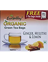 Eco Valley Organic Green Tea, Ginger, Lemon and Mulethi, 25 Tea Bags (Free 5 tea bags Inside)