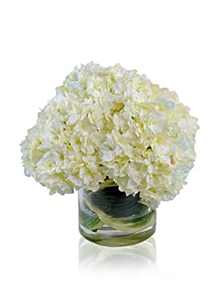 New Growth Designs Hydrangea Bouquet in Hosta Leaf-Lined Vase, Cream/Blue