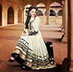Beautiful Cream & Black Designer Anarkali Suit