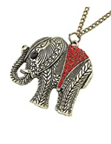 8 Republic London Mother's Day Special Red Rhinestone Long Chain Elephant Pendant Necklace For Women