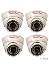 TouchTec Dome IR Camera 800 TVL with 3.6 MM Lens, 36 LED with Stand-4 Pcs
