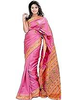 Exotic India Moonlite Mauve Baluchari Saree with Hand-Woven Dancing Apsar - Pink