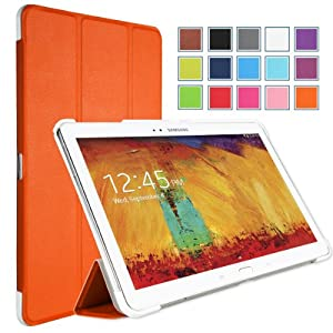 MoKo Samsung Galaxy Note 10 2014 Edition Case - Ultra Slim Lightweight Smart-shell Stand Case for Note 10.1 Inch 2014 Edition Tablet ORANGE (With Smart Cover Auto Wake / Sleep)