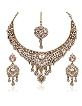 I Jewels Traditional Gold Plated Elegantly Handcrafted Stone Necklace Set with Maang Tikka & Earrings for Women M4039W (White)