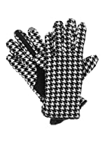 Isotoner Smart Touch Womens Black Houndstooth Fleece Smartouch Texting Gloves