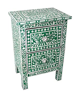 Mili Designs 2 Drawers Bone Inlay Bedside, Green/Cream