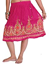 Exotic India Short Skirt With Printed Flowers and Embroidered Sequins - Color Rose RedGarment Size Free Size