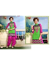 Fabboom New Parrot Green And Pink Colour Designer Cambric Cotton Patiyala Suit
