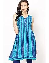 Light Blue Printed Anarkali