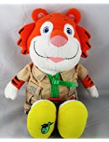 "Baby Genius Tempo The Tiger 14"" Plush Stuffed Animal Toy Wearing Safari Outfit"