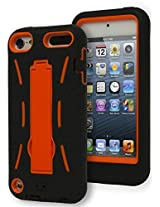 iPod Touch 5 Case, Bastex Heavy Duty Hybrid Case Soft Black Silicone Gel Cover with Neon Orange Hard Kickstand Case for Apple iPod Touch 5