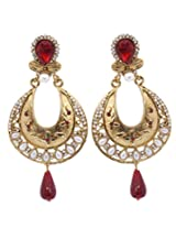 Hyderabadi Abhushan earrings with gold and red color