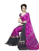 Suvastram Women Faux Crepe Foil Print Multicolor Saree