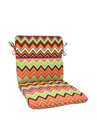 Pillow Perfect Outdoor Zig Zag Rounded Corner Chair Cushion, Raspberry