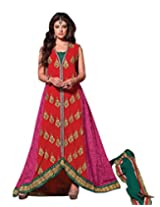 Styleliner Womens Georgette Dress Material (M-Sh17-1 -Red -Free Size)