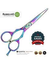 Suvorna Professional Barber Multicolor Titanium Razor Edge Hair Cutting Shears/Scissors Razeco E45, Multicolor, 11.8 Ounce