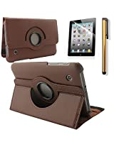 """New 360 Degress Rotating Stand PU Leather Case Cover / Screen Protector / Stylus for Samsung Galaxy Tab 2 7"""" Tablet P3100/P3110 (3in1 Brown)"""