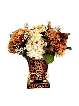 Creative Displays Cream & Rust Hydrangea in Leopard Print Vase, 24x21x20