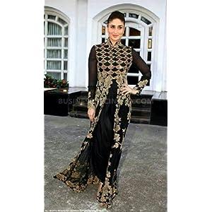 Bollywood Replica Kareena Kapoor Pure Georgette Suit In Black Colour