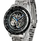 ESS Men's Skeleton Dial Stainless Steel Automatic Watch WM174 Black