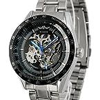 ESS Men's Skeleton Dial Stainless Steel Automatic Watch WM174 Black
