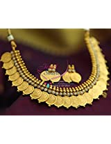 Temple Jewellery Laxmi Coin Necklace Pearl Stones Indian Traditional Necklace