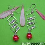 Silver Selection Glass Metal Earrings