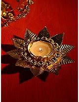Gold & Silver Floral Tea Light Candle Holder