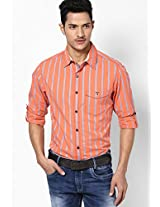 Striped Orange Casual Shirt Mufti