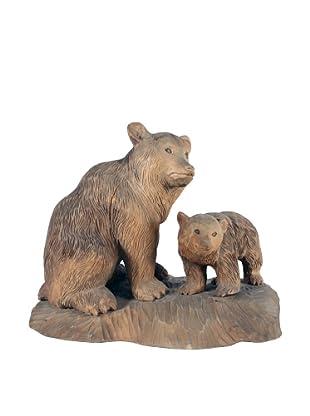 Bear & Cub Carved Sculpture, Brown