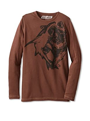 Ames Bros Men's Shark Vs Bear Thermal Tee (Chocolate)