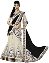 Clickedia Women Net Black embroidered Saree style Lehenga With Dupatta and Blouse piece