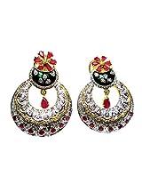 Poddar Jewels Cubic Zirconia Designer Meena / Enamel Earrings