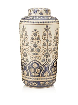 Palmette Tall Ceramic Jar, White/Blue