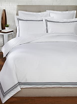 Mason Street Textiles Hotel Piping Duvet Set (White/Black)