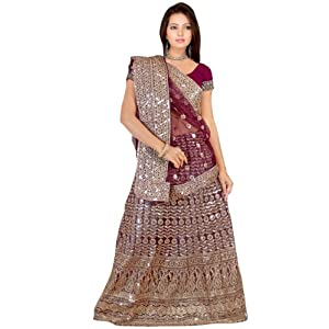 Dark Wine Net Lehenga Style Saree with Blouse