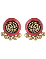 Scorched Earth Red & Gold Terracotta Stud Earrings for Women