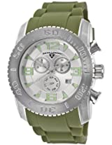Men'S Commander Chronograph Silver Dial Green Silicone (10067-02S-Mgrs)
