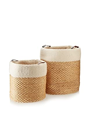 Matahari Set of 2 Water Hyacinth/Cotton Cylinders